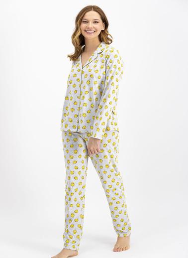 Tweety Lisanslı Gri Kadın Düğmeli Gömlek Pijama Takımı Gri
